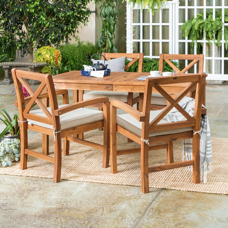 5 piece light brown rustic patio dining set rc willey furniture store