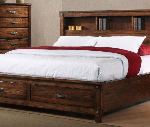 Rustic Brown King Size Storage Bed Jessie