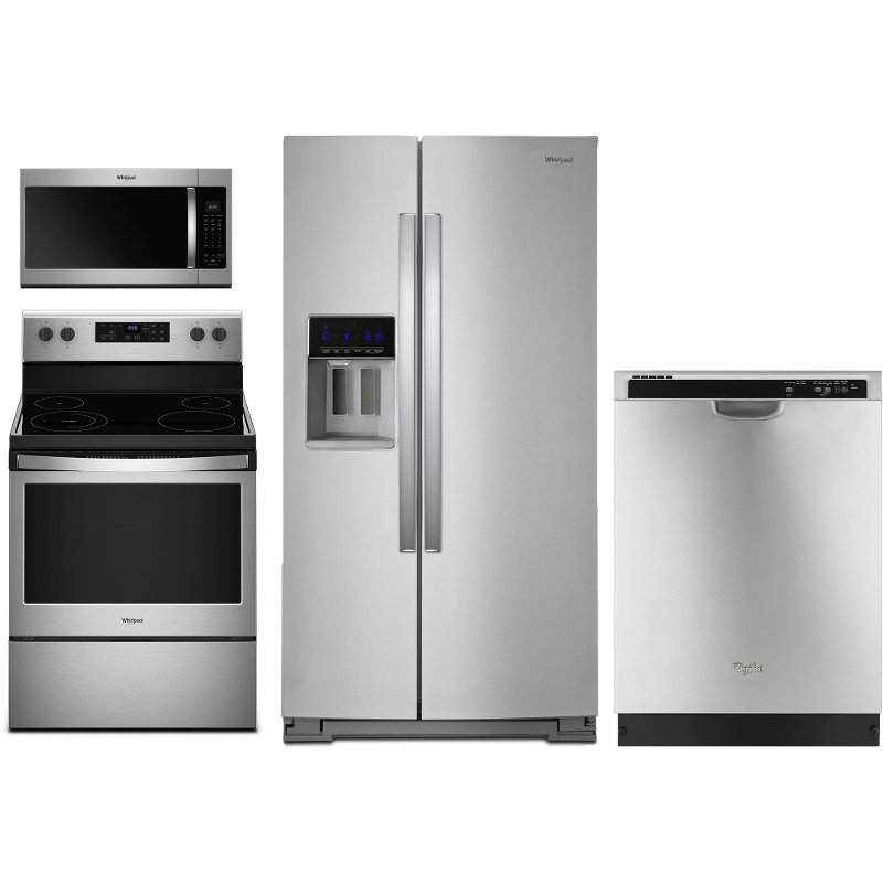 Whirlpool 4 Piece Kitchen Appliance Package with Electric ...