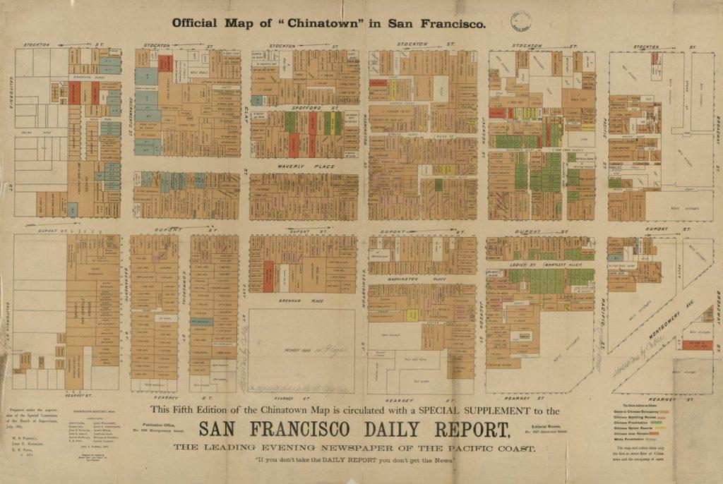 1885 map of San Francisco Chinatown