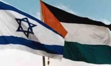 Ilustrasi Bendera Israel dan Palestina