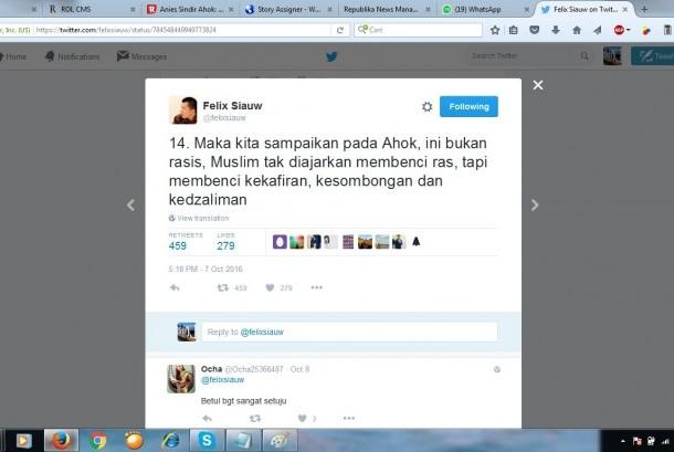 Cuitan Ustaz Felix Siauw tentang Ahok yang menyebut warga Jakarta dibohongi memakai surat Al-Maidah 51