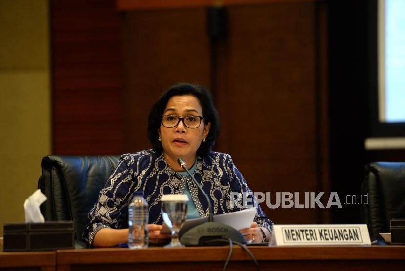Aturan Ekspor dan Impor Penumpang. Menteri Keuangan Sri Mulyani memberikan paparan saat konferensi pers di Gedung Kementerian Keuangan, Jakarta, Kamis (28/12).