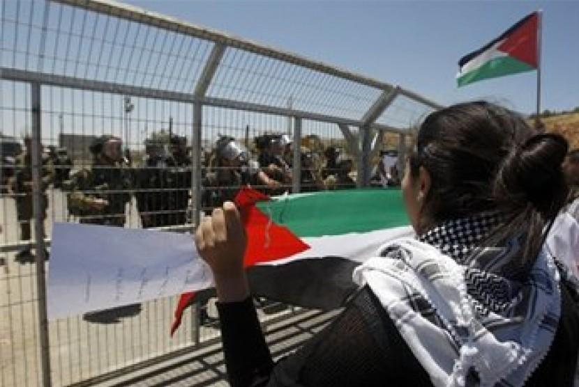 Aksi warga Palestina di penjara Oris Israel dalam peringatan Hari Naksa
