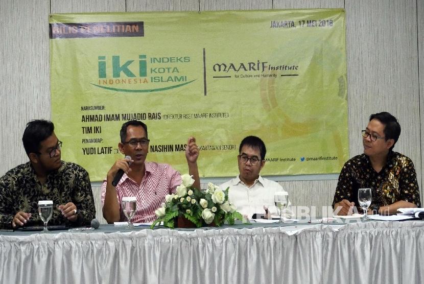 Diskusi hasil penerlitian mengenai Indeks Kota Islami Indonesia, di Jakarta, Selasa (17/5).  (Republika/ Darmawan)