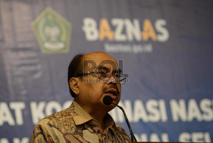 Ketua Badan Amil Zakat Nasional (Baznas) Bambang Sudibyo saat pembukaan Rapat Koordinasi Nasional (Rakornas) Baznas, Jakarta, Selasa (1/12).