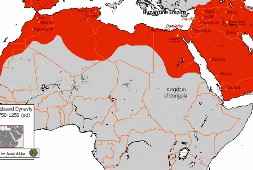 Peta kekuasaan Daulah Abbasiyah.