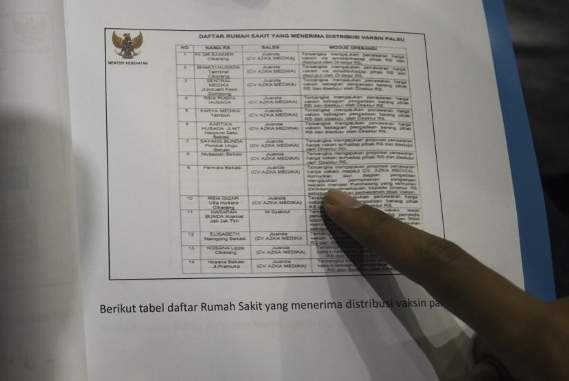 Seorang jurnalis melihat daftar rumah sakit penerima distribusi vaksin palsu yang dirilis dalam rapat kerja antara pemerintah dengan Komisi IX DPR di Kompleks Parlemen, Senayan, Jakarta, Kamis (14/7).