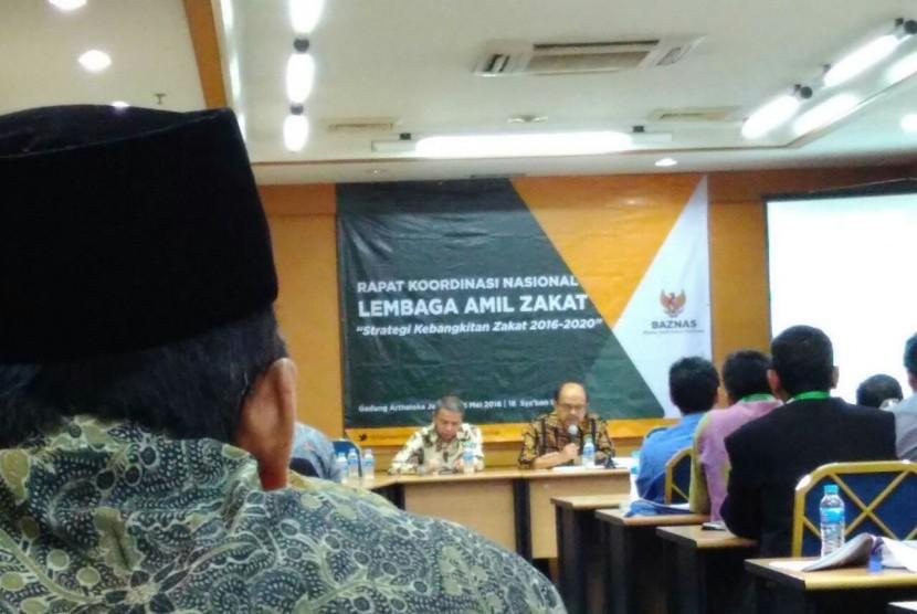 Suasana rakornas Laznas di Jakarta, Rabu (25/5).