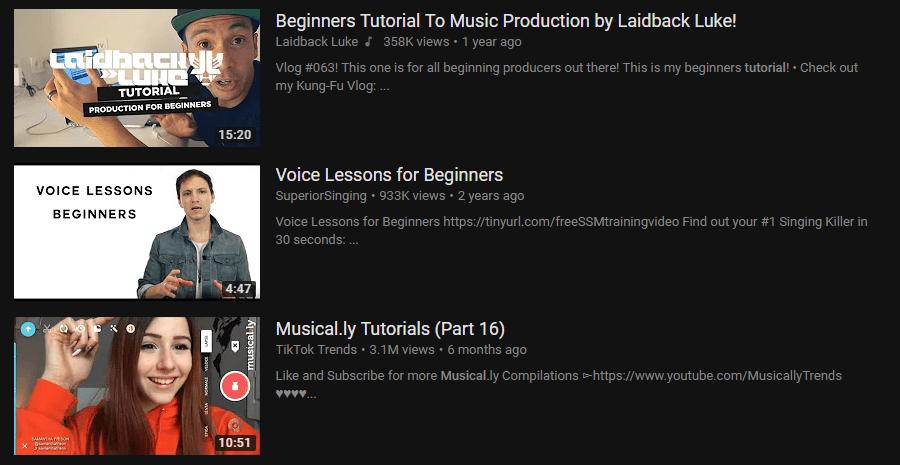 Music Tutorials Youtube