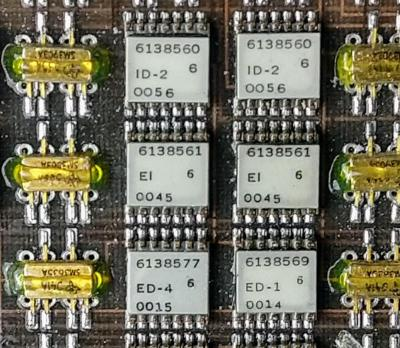 Closeup of the Y driver board showing six ULD modules and six transistor pairs. Each ULD module is labeled with an IBM part number, the module type (e.g.