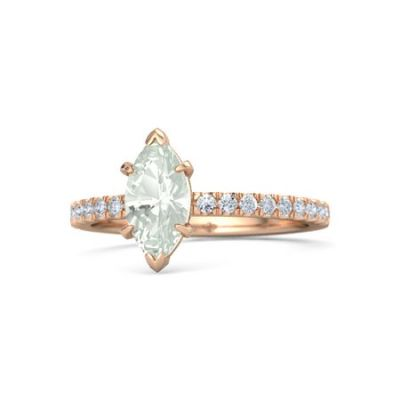 Non-Traditional Engagement Rings Green Amethyst Marquise Engagement Ring 14K Rose Gold Ring with Diamond Accents