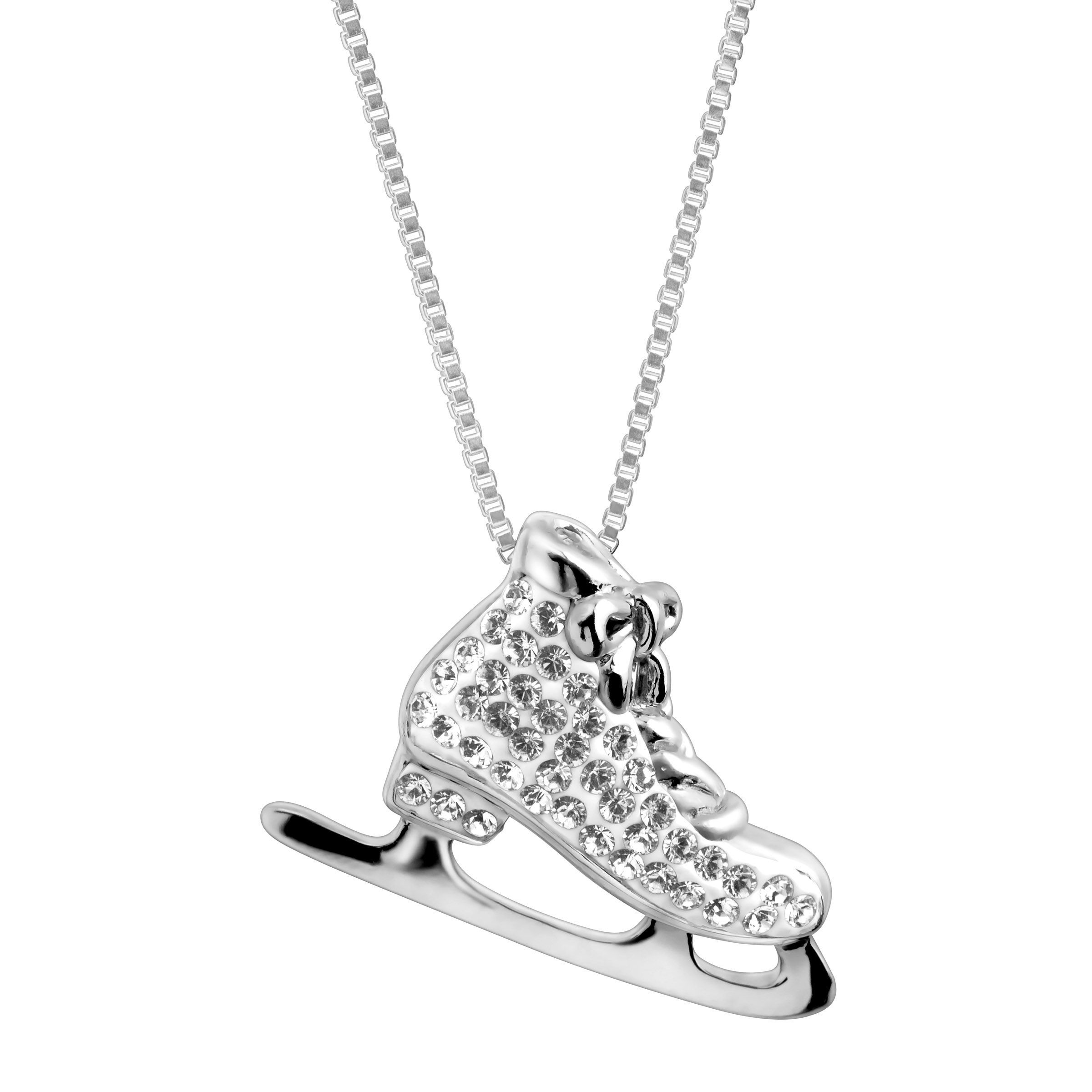 Crystaluxe Ice Skate Pendant With Swarovski Crystals In