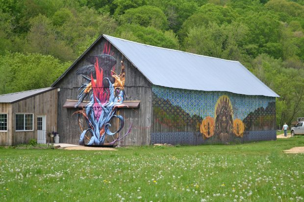 The old barn is now covered with colorful, whimsical murals.