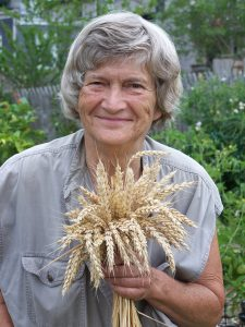 Joan Gussow holds a sheaf of wheat stalks while standing in a garden.