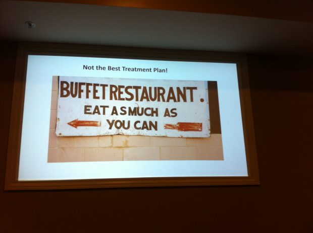 Sign that says Buffet Restaurant, eat as much as you can, with a caption that says, not the best treatment plan.