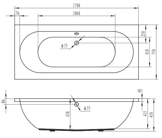 saniclass stuttgart baignoire standard 170x75x42cm rectangulaire blanc