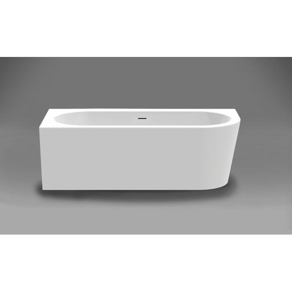 xenz charley baignoire semi ilot d angle 180x80x60cm vidage au centre avec trop plein 250litres acrylique blanc