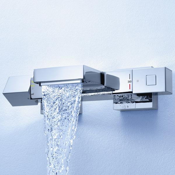 grohe cube mitigeur thermostatique de baignoire avec inverseur et connexions chrome