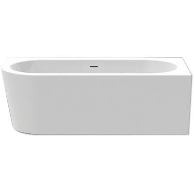 xenz charley baignoire mi ilot coin droite 180x80cm avec pieds avec vidage acrylique blanc haute brillance