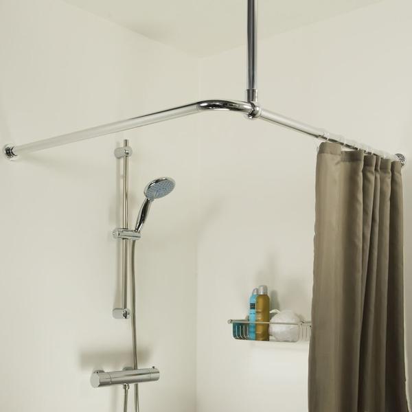 sealskin seallux support plafond pour barre de douche d angle 60cm chrome
