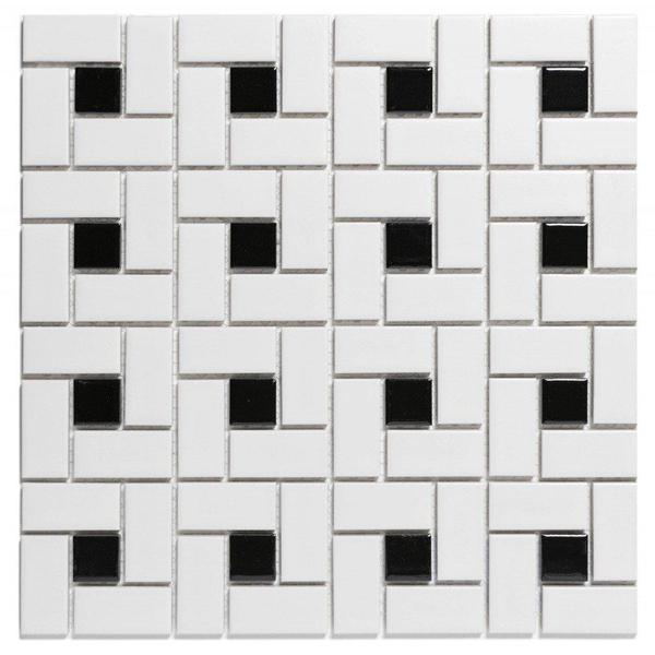 the mosaic factory paris carrelage mosaique 56x56x5mm et 23x23x5mm carrelage mural pour interieur et exterieur moulin porcelaine blanc mat avec noir