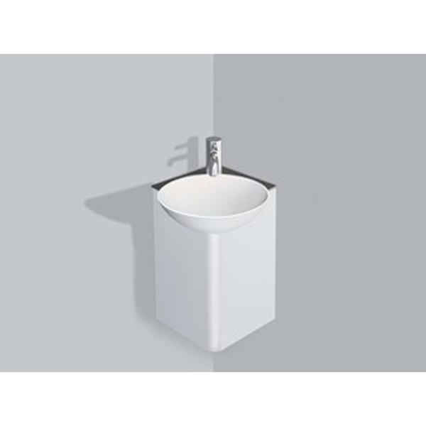 alape insert meuble lave mains d angle 25x25cm sans trou pour robinetterie avec bonde anthracite