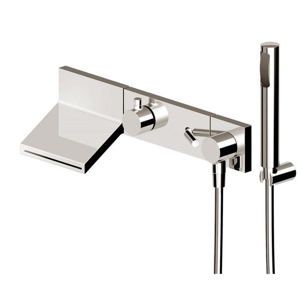 zucchetti pan set de finition pour robinet encastrable baignoire douche avec bec cascade inverseur et coude mural avec douchette et support chrome