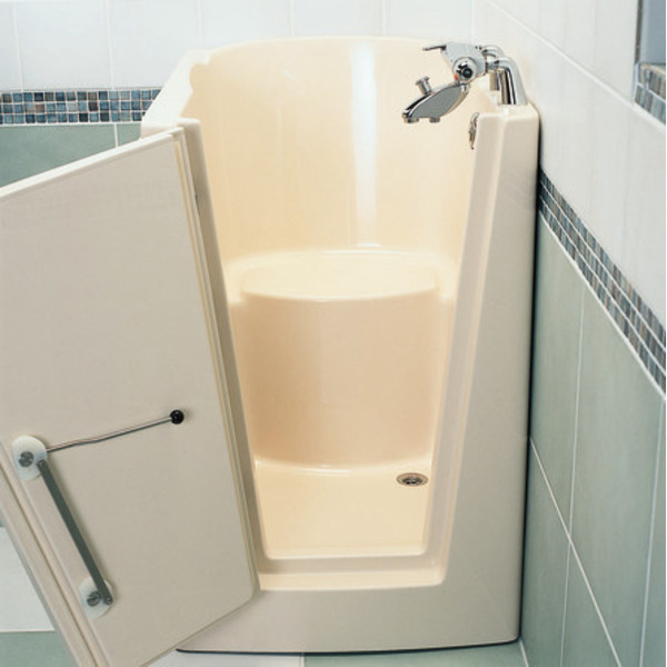nemo spring menorca baignoire assise avec porte gauche 97x69x107cm avec vidage acrylique blanc