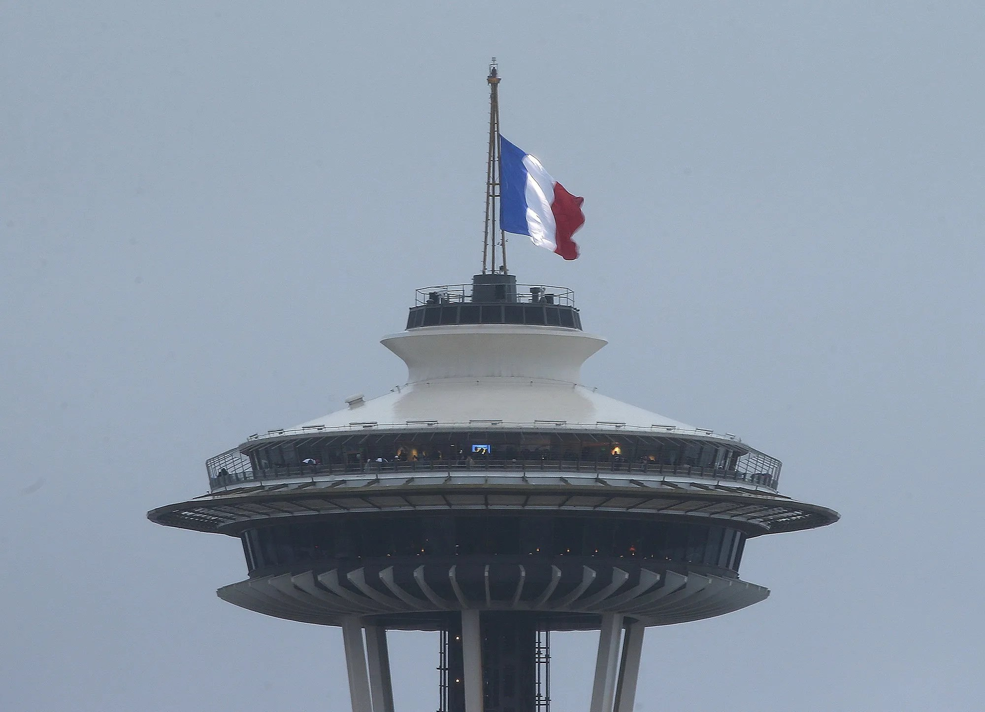 French Flag Flies Atop Space Needle The Seattle Times