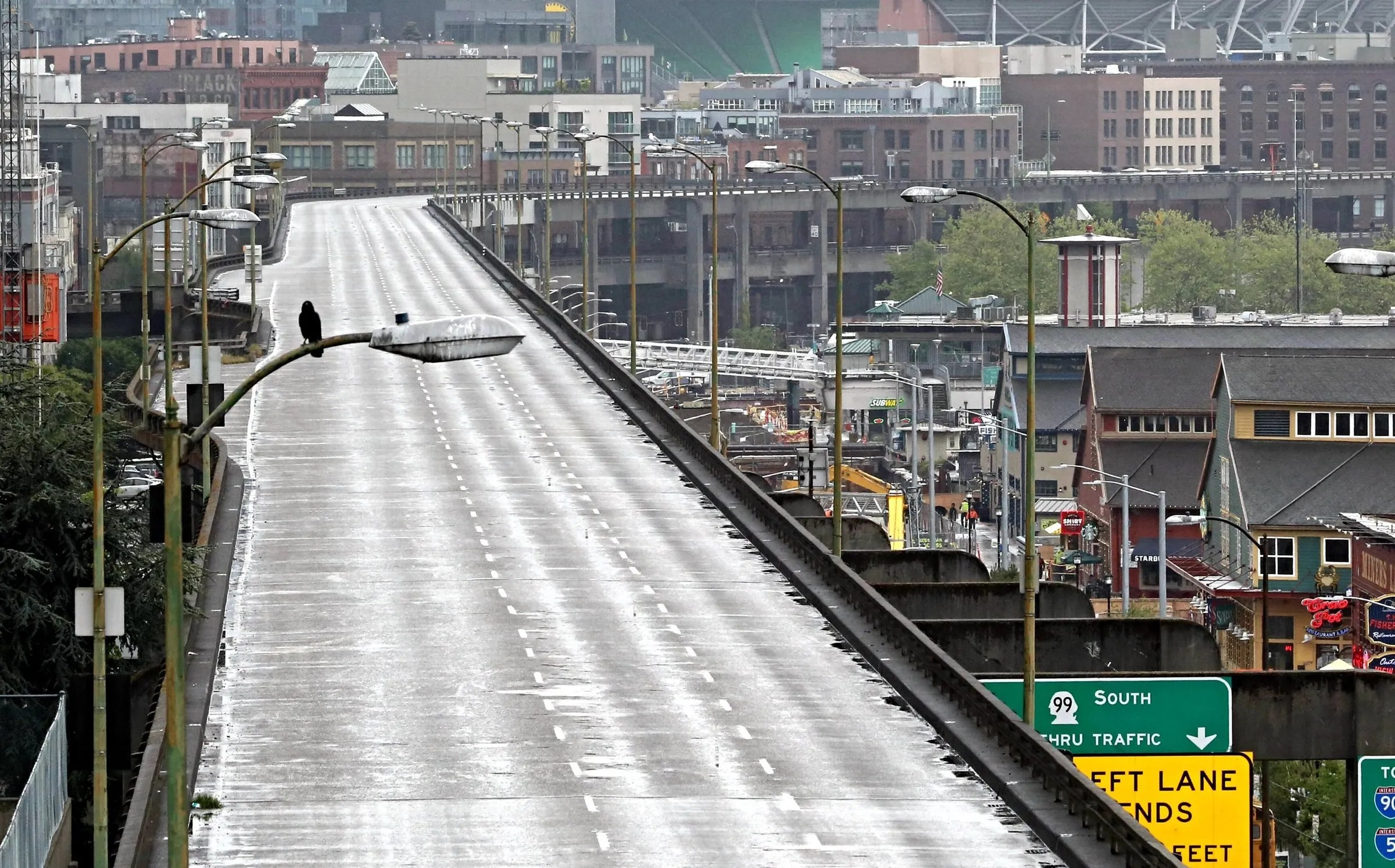 An empty Alaskan Way viaduct during the closure last week. (Ellen M. (Ellen M. Banner / The Seattle Times)