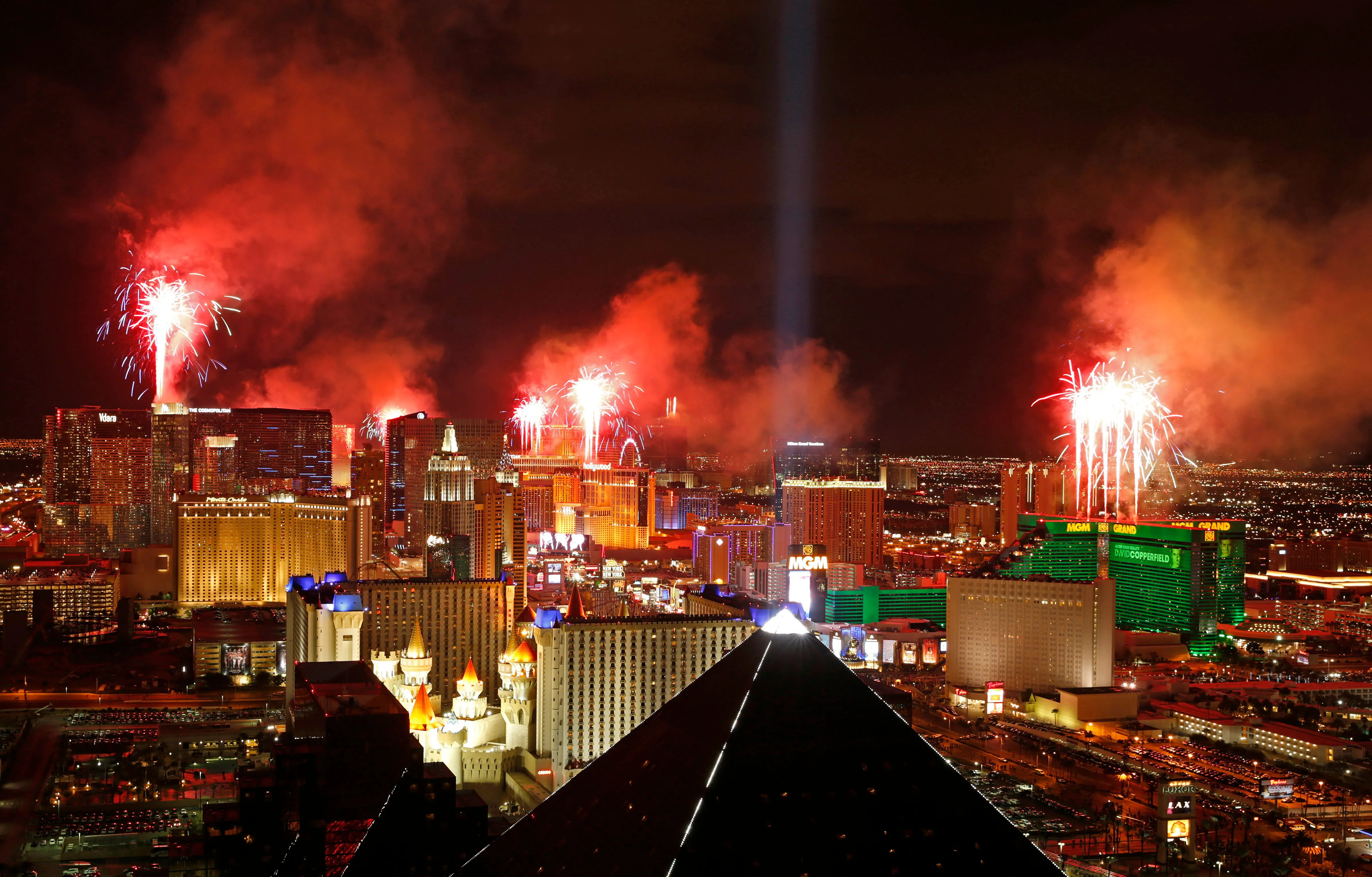 Officials ban backpacks on Las Vegas Strip on New Year s Eve   The     FILE     In this Jan  1  2015  file photo  fireworks explode above