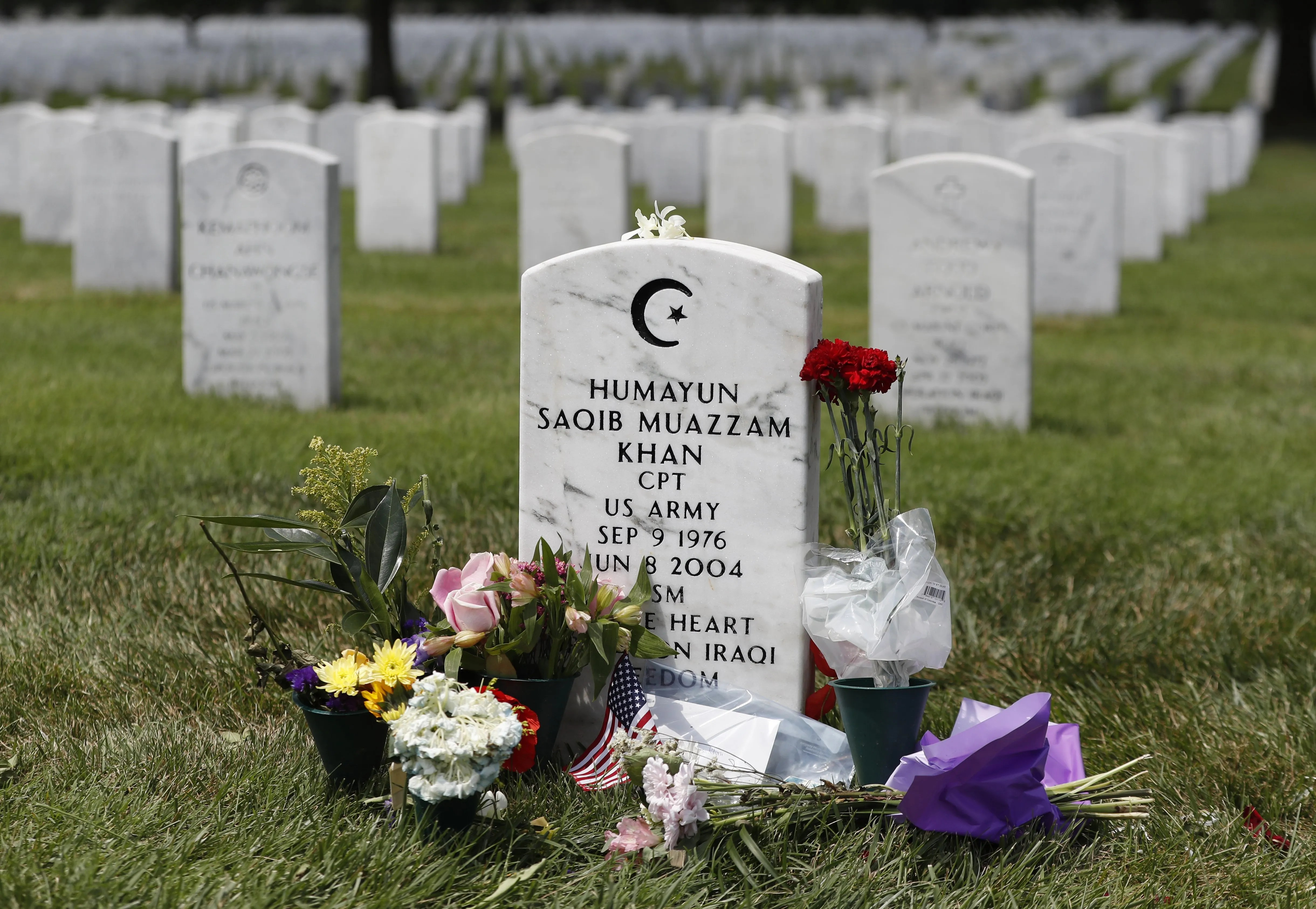 The tombstone of U.S. Army Capt. Humayun S.M. Khan is seen at Arlington National Cemetery in Arlington, Va., Monday. (Carolyn Kaster/The Associated Press)