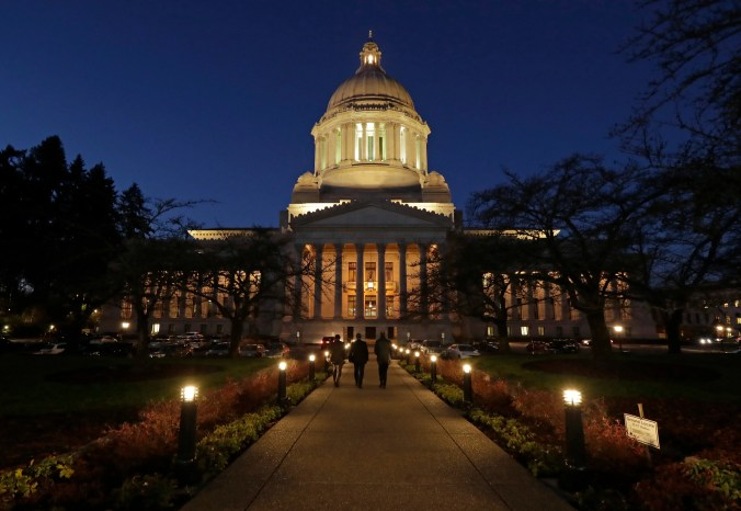 The Legislative Building at dusk at the Capitol in Olympia (AP Photo / Ted S. Warren, File)