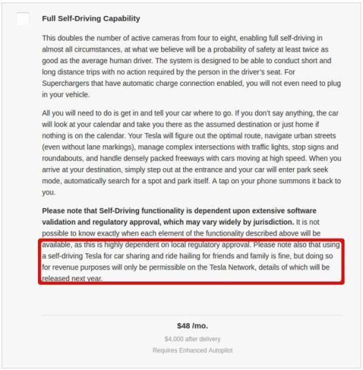 Tesla FSD description