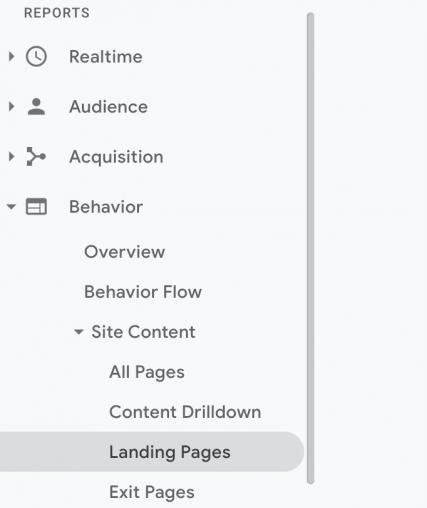 google analytics behaviors tab