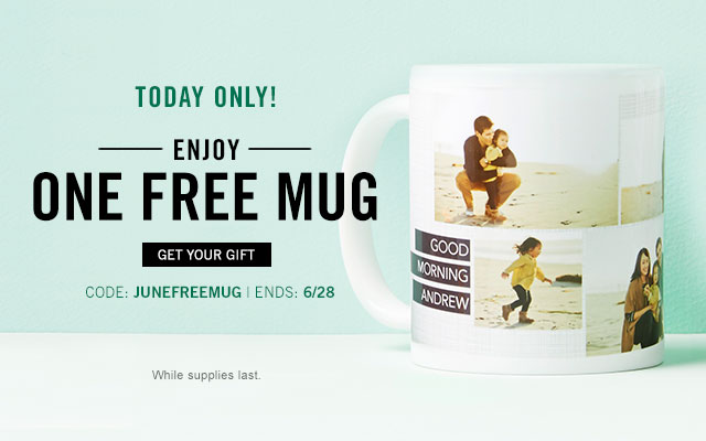 Enjoy one free mug with promo code JUNEFREEMUG, 6/28 only