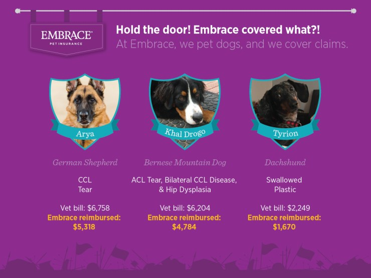 Embrace Pet Insurance Game of Thrones pet names. Embrace reimbursements for 3 dogs' surgeries.