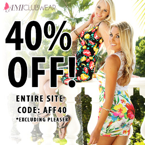 Save 40% off site wide at AMIclubwear.com! Code: AFF40