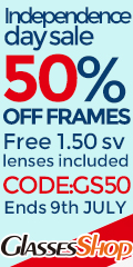 Independence day sale! Take 50% off frames, (free 1.50 SV Lens incl) code GS50 At GlassesShop.com!