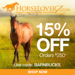 15% Off Orders $250+ at HorseLoverZ.com with code BARNBUCKS (valid through 2/28/17)