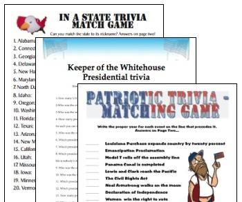 Printable United States trivia games bargain three-pack