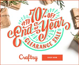 Clearance Sale - Up to 70% Off. We repeat: Up to 70% Off kits & supplies. It's our last sale of the year - and the savings are huge! Shop at Craftsy.com 12/27 - 12/31/18.
