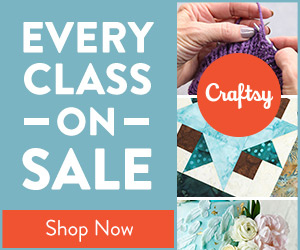 Every Craftsy Class Is On Sale at Craftsy.com 1:00pm MST 7/27 through 11:59pm MST on 7/29. No coupon code needed.