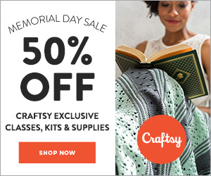 50% Off Any Two Craftsy Exclusives - classes, kits or supplies with code STARSPANGLEDSAVINGS 5/27 - 5/28 at Craftsy.com.