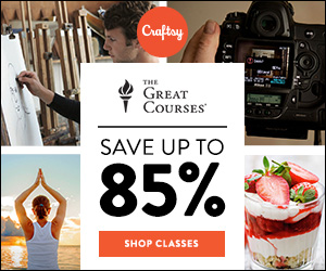 Save Up To 85% On The Great Courses + Startup Library Classes at Craftsy.com through 8/26/18. No coupon code needed.