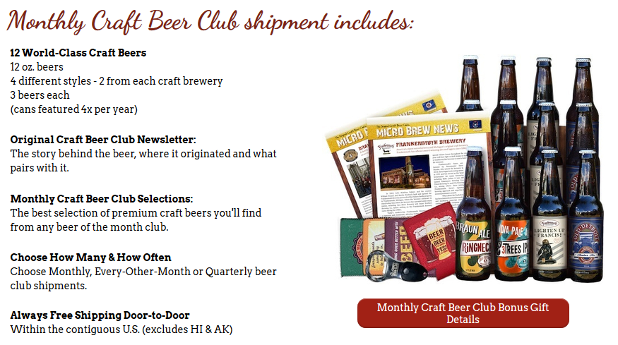 FREE SHIPPING ALWAYS + Up To 3 Bonus Gifts Now At Craft Beer Club - Shop Now!