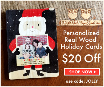 $20 off Personalized Holiday Cards - Available in real wood and paper