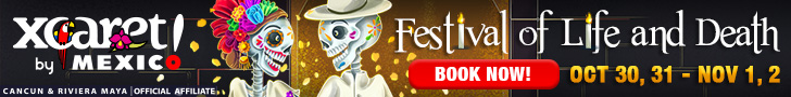 "Buy Xcaret Admission for visiting at October 30th to November 2nd, and get free access to ""Life and Death Festival""."