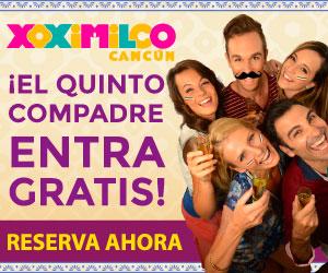 Parque Xoximilco, paga 4 adultos y el 5to es gratis. Musica en vivo, tequila y más. Cancun, Riviera Maya.